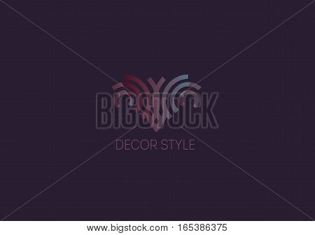Creative logo abstract geometric lines with rounded