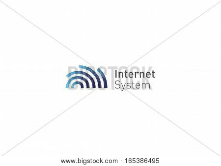 Creative logo, abstract geometric lines with rounded, internet system,