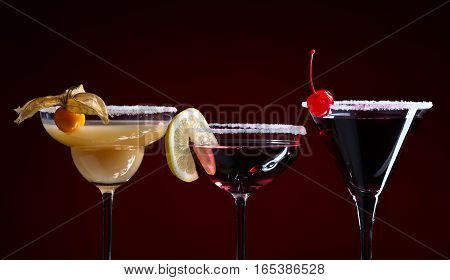 Cocktails With Fruits On A Dark Background