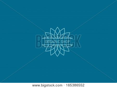 Development of linear logo pattern in the form of a flower shop for organics