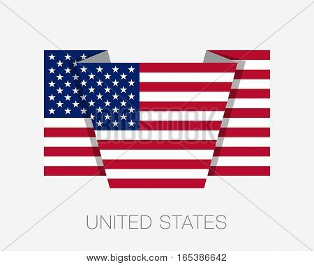 Flag Of United States Of America. American Flag. Flat Icon Wavering Flag With Country Name