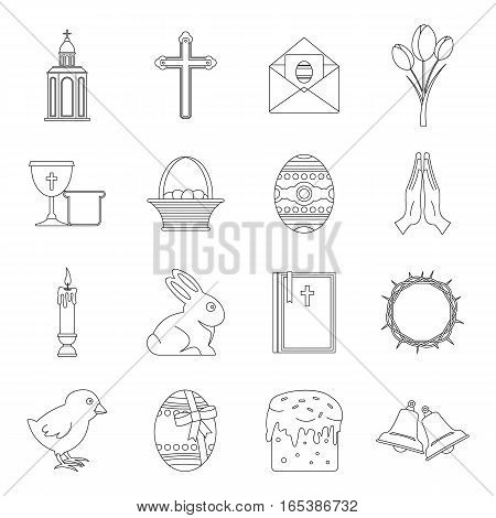 Easter items icons set. Outline illustration of 16 Easter items vector icons for web