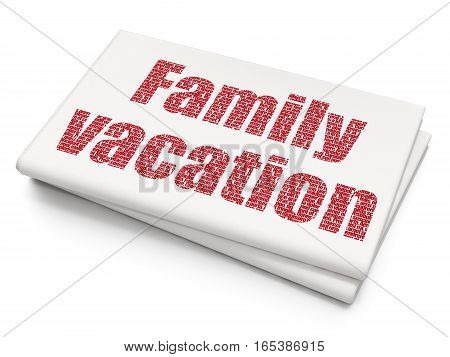 Vacation concept: Pixelated red text Family Vacation on Blank Newspaper background, 3D rendering
