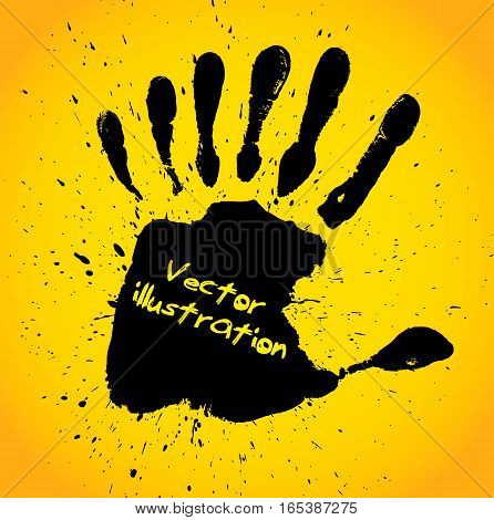 Hand print with seven fingers, vector illustration