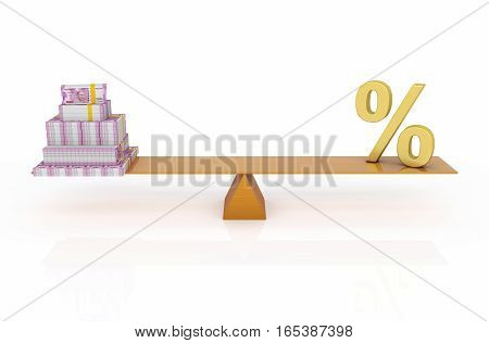 New Indian Currency with Percentage Symbol - 3D Rendered Image