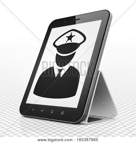Law concept: Tablet Computer with black Police icon on display, 3D rendering
