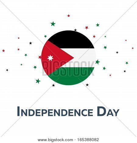 Independence Day Of Jordan. Patriotic Banner. Vector Illustration.