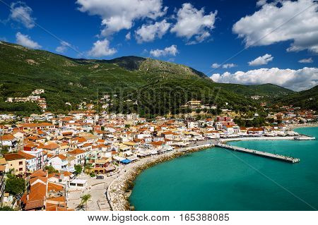 Coast of Greece on a sunny day, Parga, Ionian sea