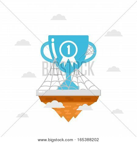 trophy on island with spider web nobody win