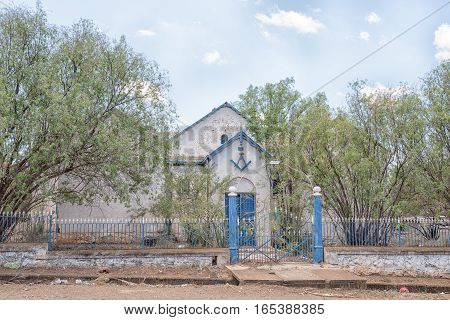 JAGERSFONTEIN SOUTH AFRICA - DECEMBER 31 2016: The oldest Free Mason building in the Free State Province is in Jagersfontein a diamond mining town in the Free State Province of South Africa