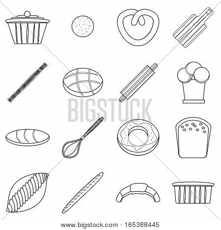Bakery products icons set. Outline illustration of 16 bakery products vector icons for web