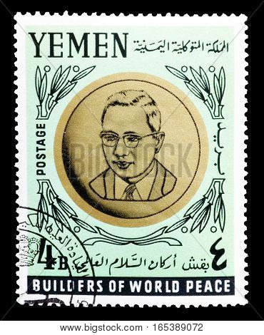 YEMEN - CIRCA 1966 : Cancelled postage stamp printed by Yemen, that shows  Sithu U Thant.