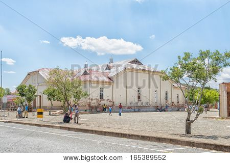 JAGERSFONTEIN SOUTH AFRICA - DECEMBER 31 2016: The town hall in Jagersfontein a diamond mining town in the Free State Province of South Africa