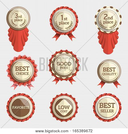 set of flat badges with text. vector badges with ribbons. collection of round medals or seals with inscription like best choice, good price, first place etc.