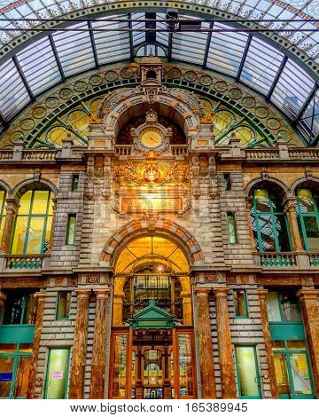 Inside antwerp central railway train station building as seen from the top etage