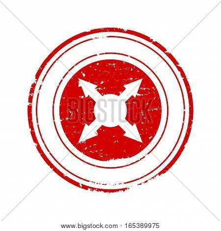 Scratched red round seal with crossed arrows - vector