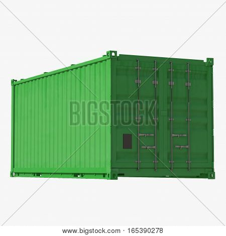 Green Collapsible ISO Container isolated on white background. 3D illustration