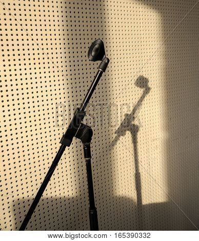 microphone stand without microphone. gray. record. soft