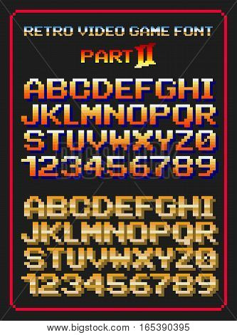 Vector illustration of retro video game letters and numbers in pixels, second part