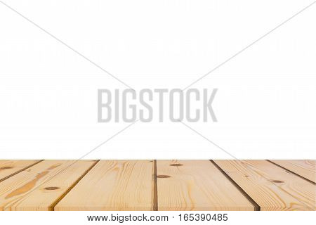 Empty light pine tree wood table top isolate on white background. Leave space for placement you background for display or montage or mock up your products.