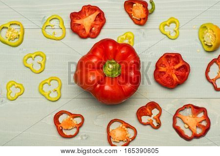 Set Of Colorful Pepper Rings