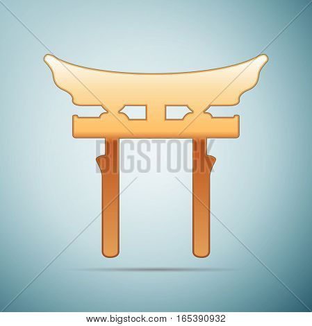 Gold Japan Gate. Torii gate icon on blue background. Vector Illustration