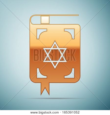 Gold Jewish torah book icon on blue background . Vector Illustration
