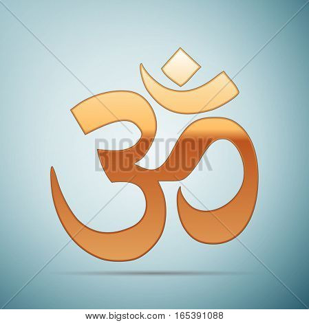 Gold sign Om. Symbol of Buddhism and Hinduism religions icon on blue background . Vector Illustration