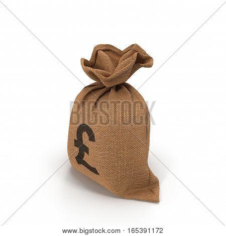A sack bag of Pounds on white background. 3D illustration