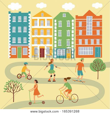 Summer activities cartoon set including children buildings trees road. Active kids riding and playing outdoor.