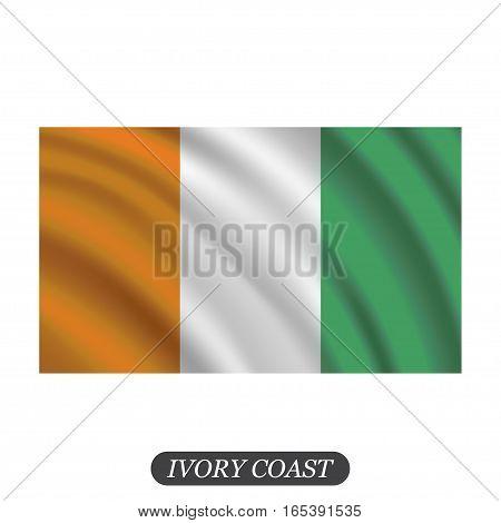 Waving Ivory Coast flag on a white background. Vector illustration