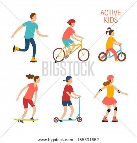 Summer activities cartoon set. Active kids riding and playing outdoor.Characters illustration for your design.