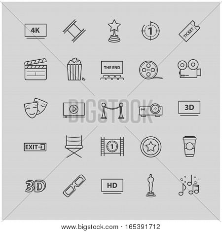 Outline icons - movie, cinema, video for your design