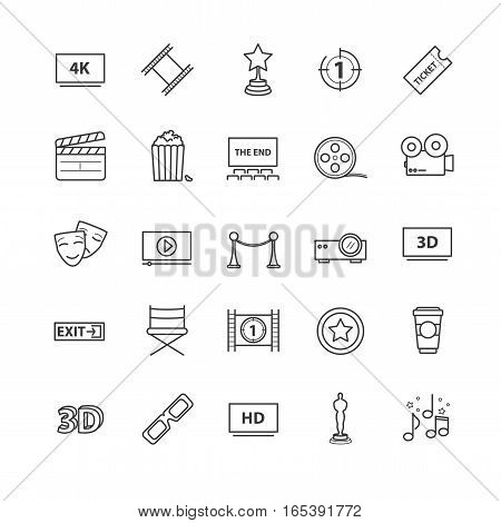 Outline icons vector set - movie, cinema, video for your design