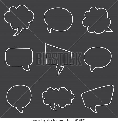 Speech Bubble Skech Set Isolated on black Background. Vector Illustration