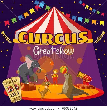 Circus great performance concept. Cartoon illustration of circus great performance vector concept for web
