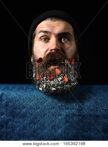 Handsome Man With Hearts In Beard