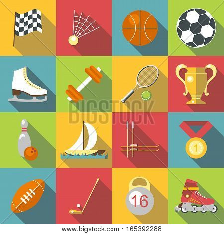 Different sport icons set. Flat illustration of 16 different sport vector icons for web