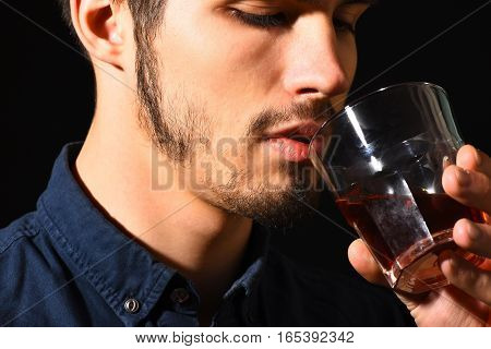 Serious Bearded Man With Whisky