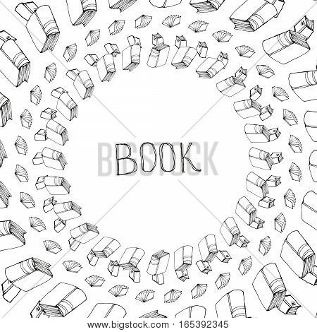 Book doodle frame. Black and white hand drawn circle border. Reading and education concept.