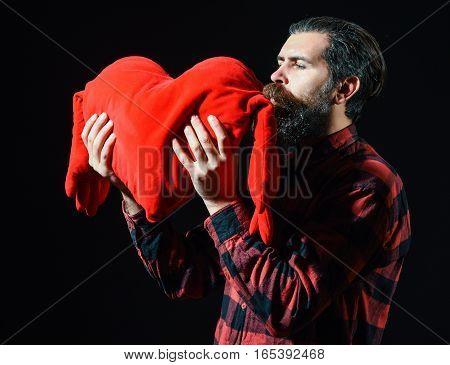 Bearded Man Kissing Heart Pillow