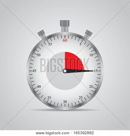 Realistic image of a sports stopwatch. Symbol competition. Icon isolated on gray background