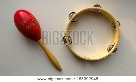 noise musical instruments. TAMBOURINE and Maracas j