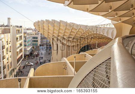 Seville Spain - January 2 2017: Space Metropol Parasol or Setas de Sevilla at Encarnacion Square Spain