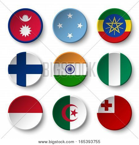 Set of world flags round badges ( Nepal . Micronesia . Ethiopia . Finland . India . Nigeria . Monaco . Algeria . Tonga )