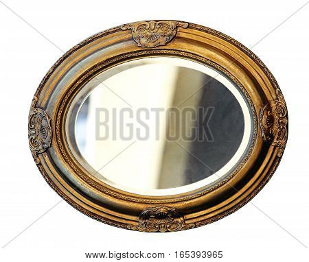 Golden Oval Mirror Frame Isolated Included Clipping Path