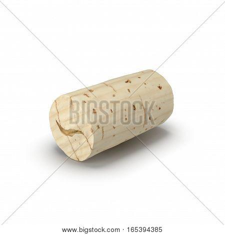 Used Wine Cork on white background. 3D illustration
