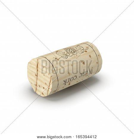 Wine Cork on white background. 3D illustration