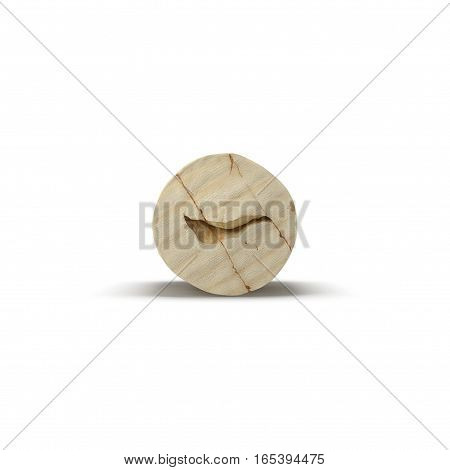 Used Wine Cork on white background. Front view. 3D illustration