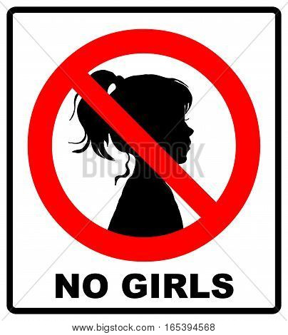no girls allowed with female symbol - vector illustration, girls half-face silhouette in red prohibition symbol